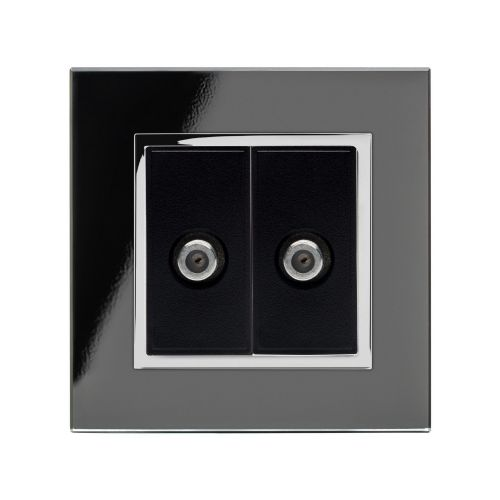 RetroTouch Dual Satellite F Type Socket Black Glass CT 00353